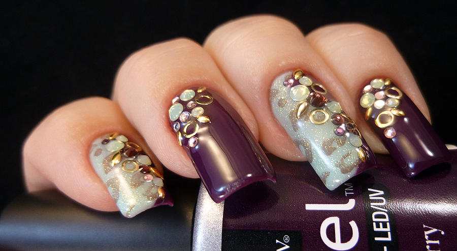 Swarovski and Studs Nail Art by TenLittleCanvases on DeviantArt