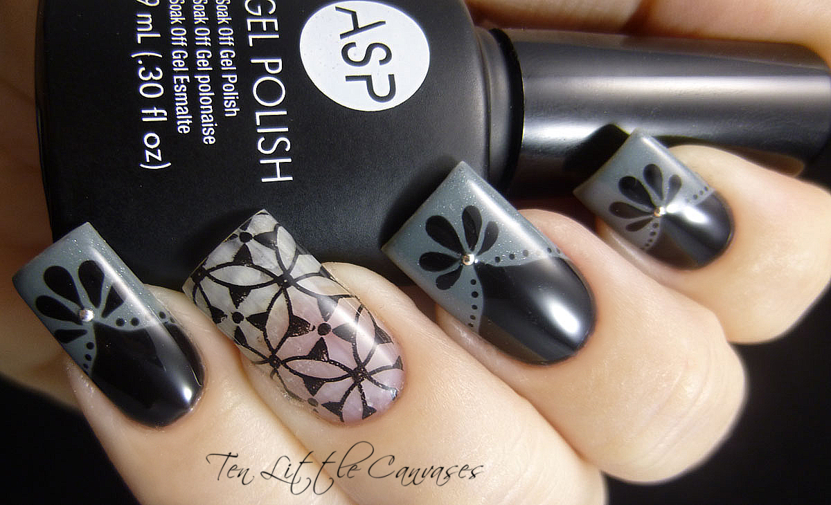 Nail Designs Grey And Black: Black grey nails by verenice h preen me.