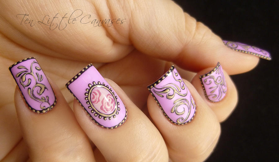 Hand Painted Vintage Nail Design By Tenlittlecanvases On Deviantart