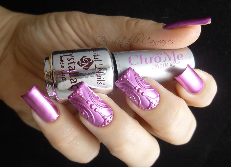 Pink Chrome 3d Nail Design By Tenlittlecanvases On Deviantart