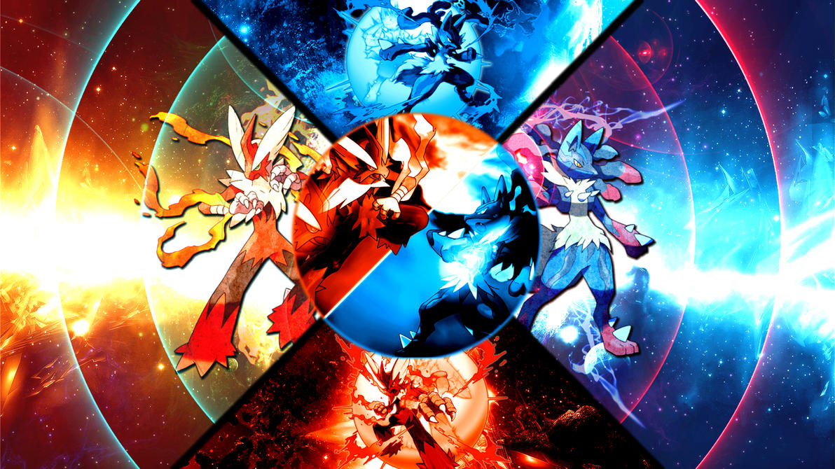 Mega Blaziken VS Mega Lucario Wallpaper by FRUITYNITE