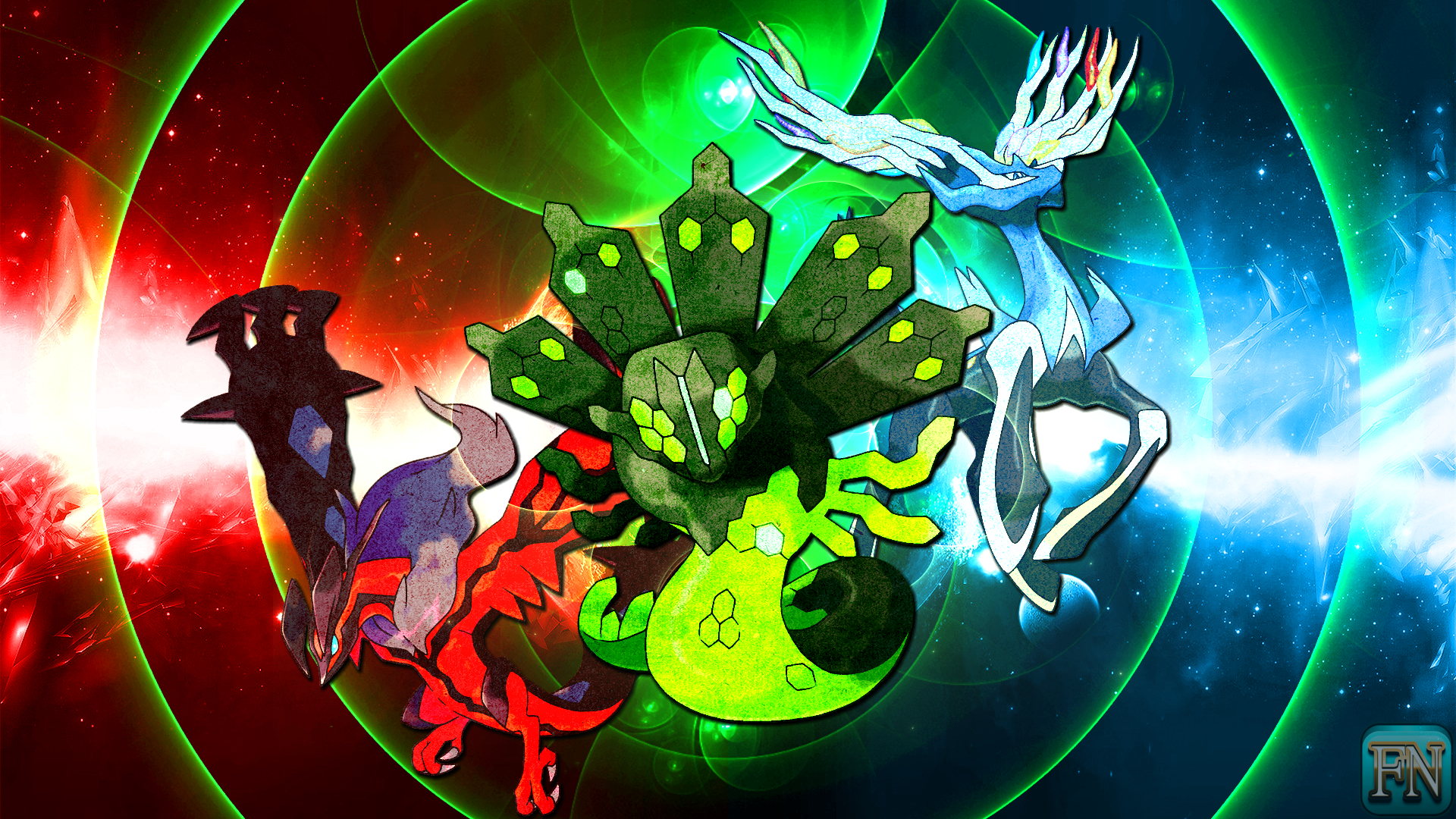 Pokemon Wallpaper: Xerneas Yveltal and Zygarde by FRUITYNITE on ...
