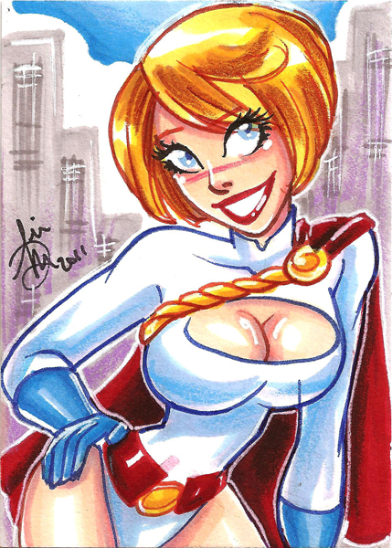 Power Girl Sketch card by mainasha