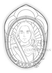Boudica, Queen of the Iceni - lineart