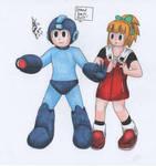 Mega Man guarding Roll by MatthewGo707