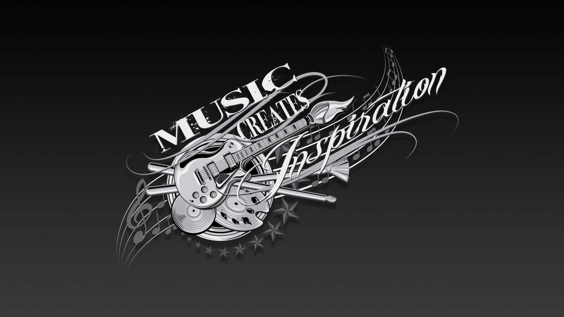 music creates inspiration wallpaper by reyjdesigns on