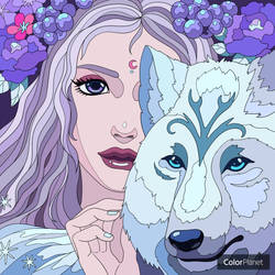 Lady with Wolf: Color Planet