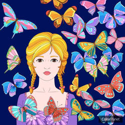 Girl with Butterflies: Color Planet