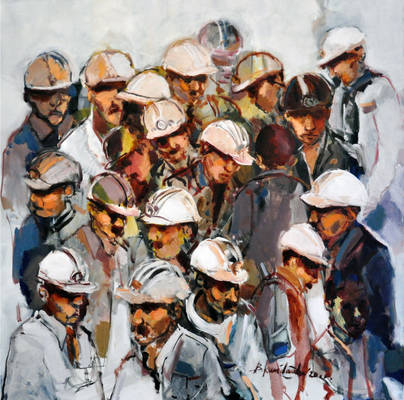 Miners, oil on  canvas, 100x100cm 2020
