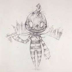 Drawtober 8/31 - Pumpkin Butcher