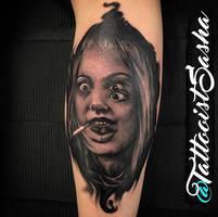 Girl, interrupted - Angelina Jolie tattoo by TattooistWilkinson