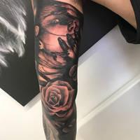 Dark sleeve tattoo by TattooistWilkinson