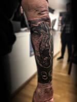 Screaming face tattoo by TattooistWilkinson