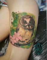 Owl tattoo by TattooistWilkinson
