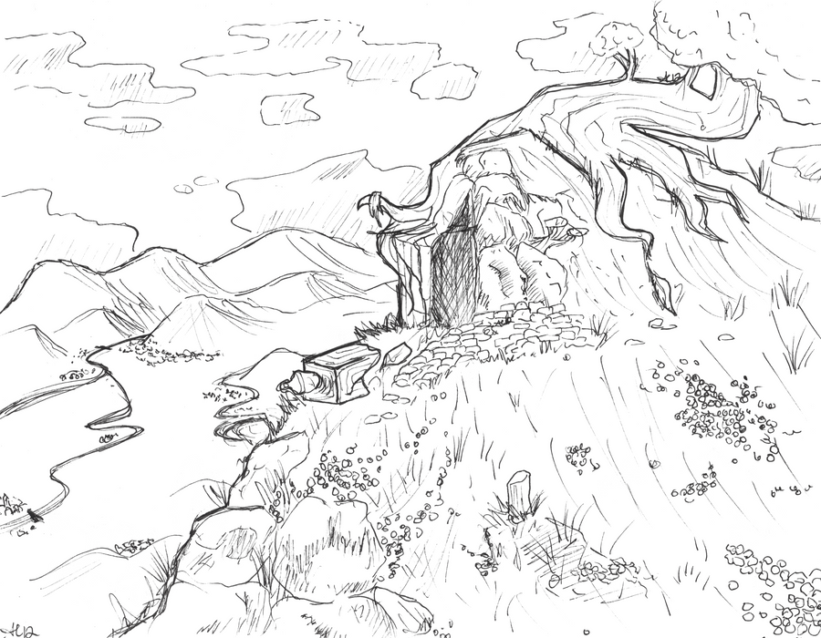 Line Drawing Landscape : Original old landscape by golden flute on deviantart