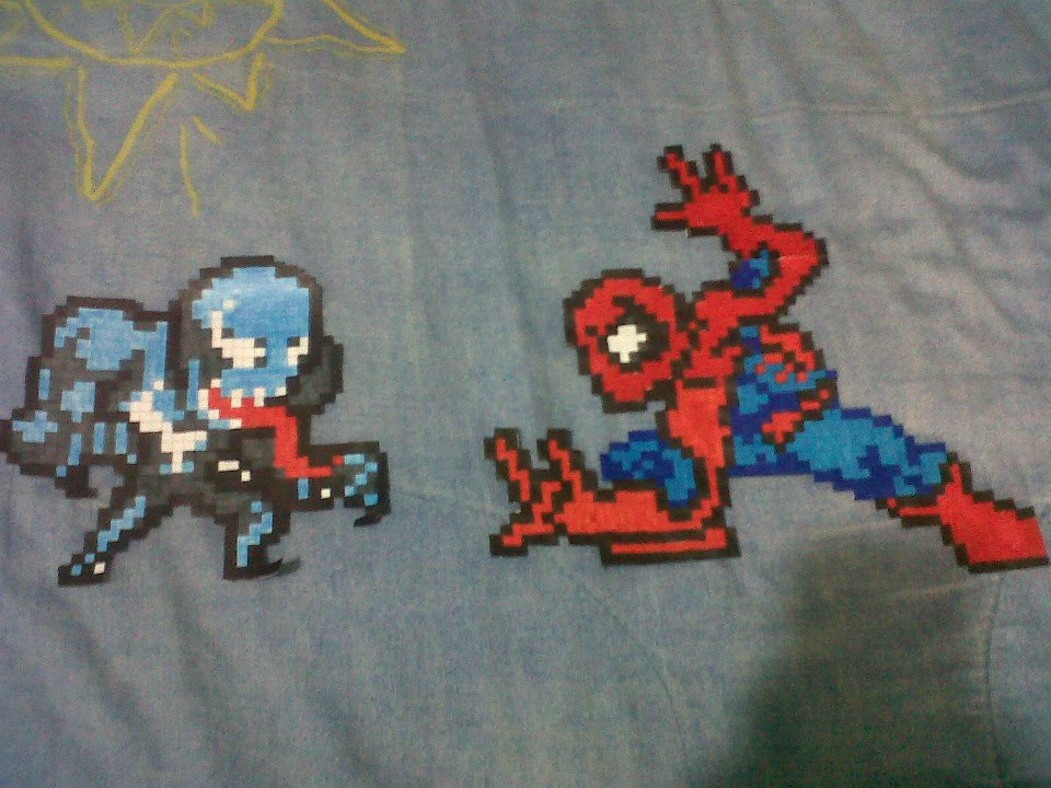 Hama Beads Spiderman: Spiderman Vs Venom Hama Beads 8 Bits Pixel Art By