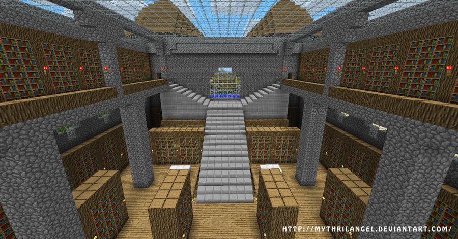 Minecraft Castle Staircase : Mc grand library f by mythrilangel on deviantart