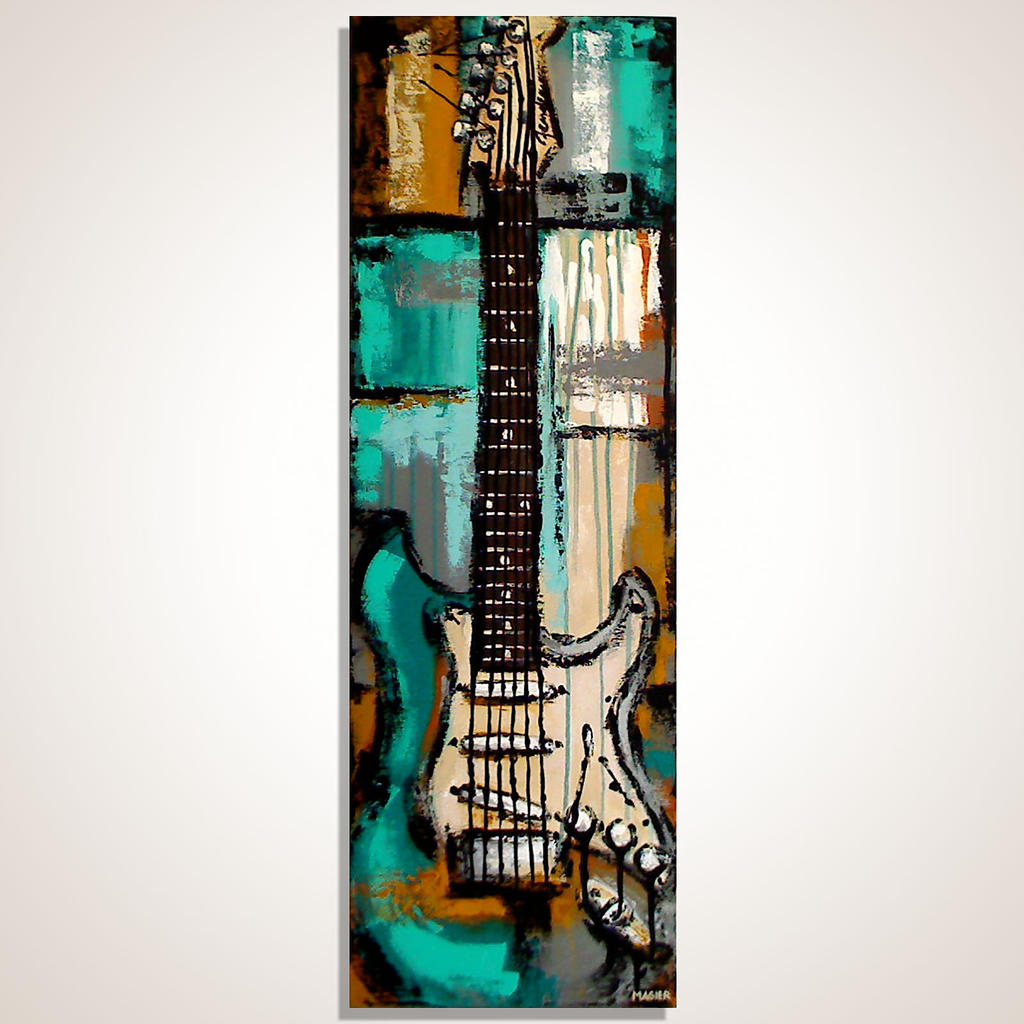 Red Electric Guitar Painting
