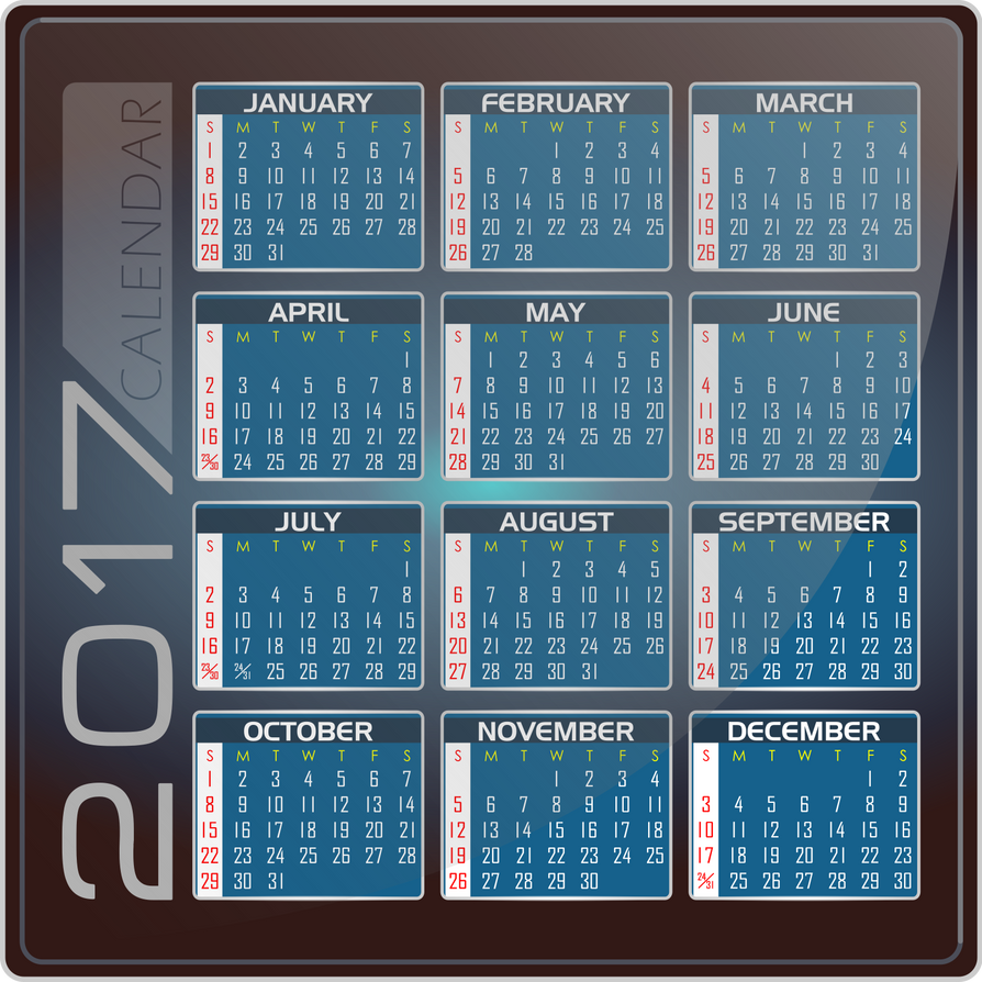 Calendar 2017 - English Version - INKSCAPE by DG-RA