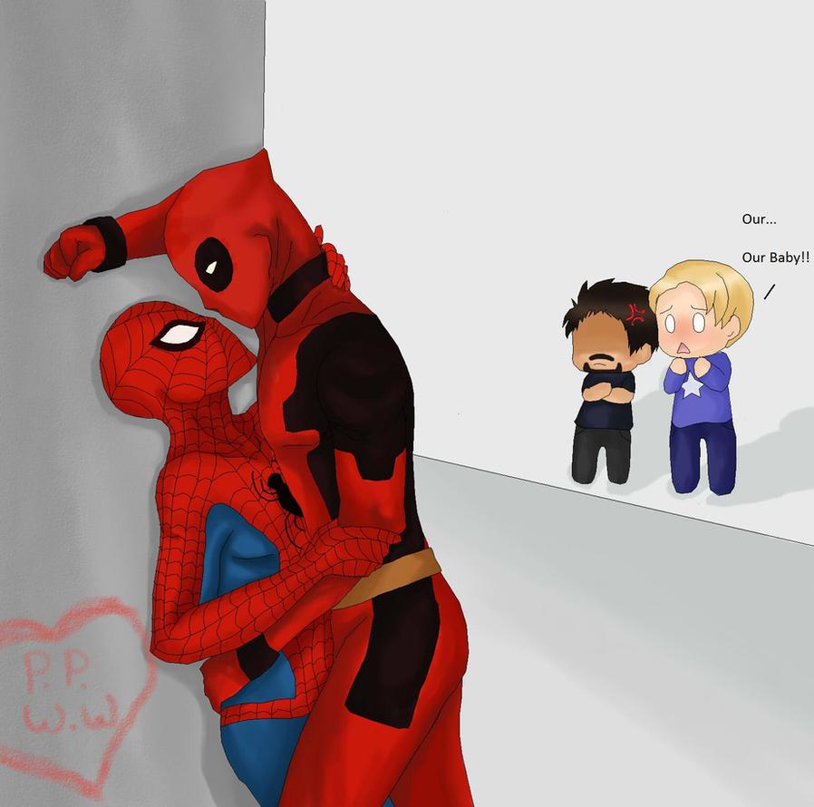 Spiderman x Deadpool by DevilishxUkeX Men Deadpool Drawings