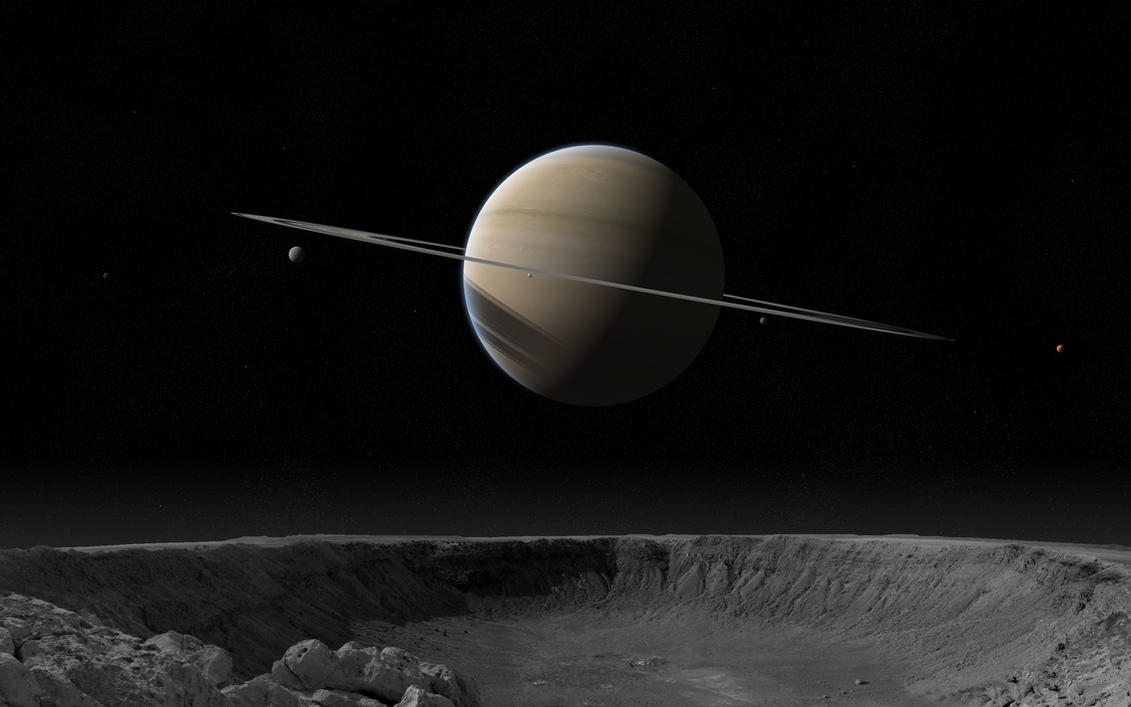 Saturn from Rhea by Alpha-Element