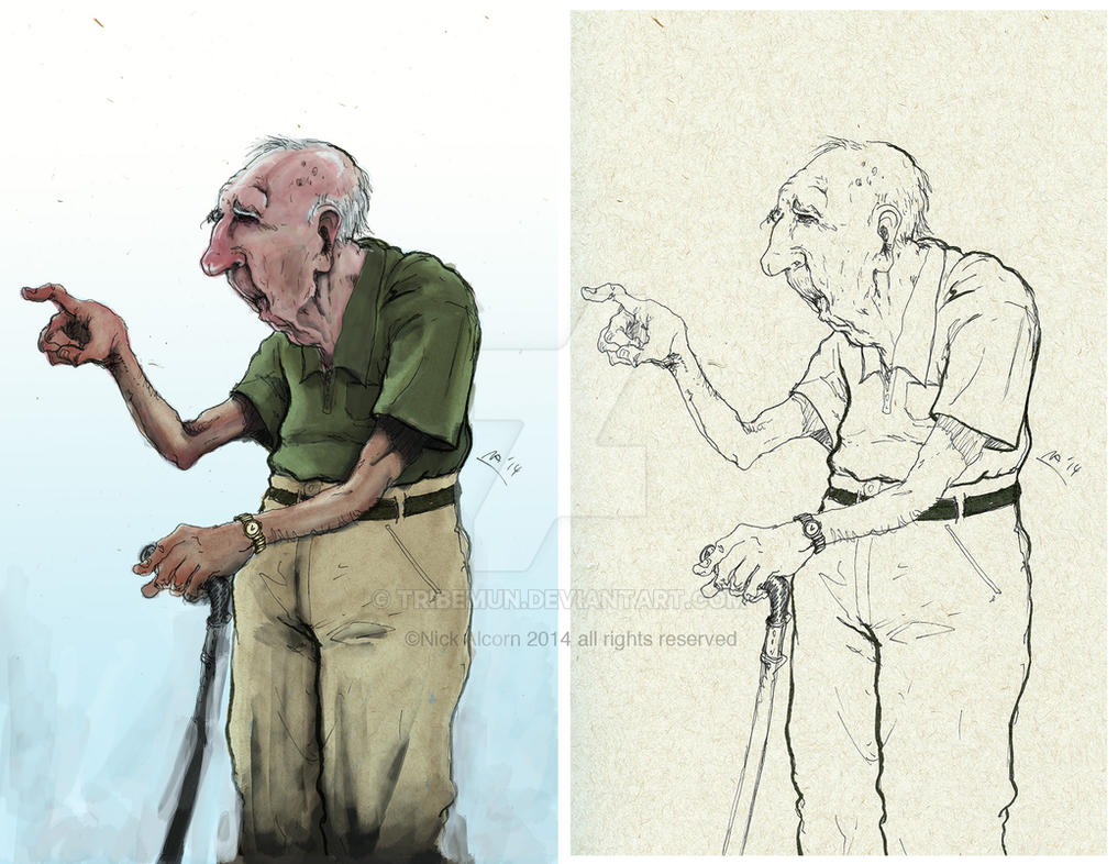 Character Design Old Man : Old man sketch and color study by tribemun on deviantart