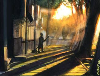 Broomstick girl in sunlight