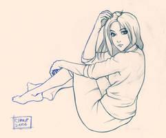 Sitting Girl Sketch by ChanpART