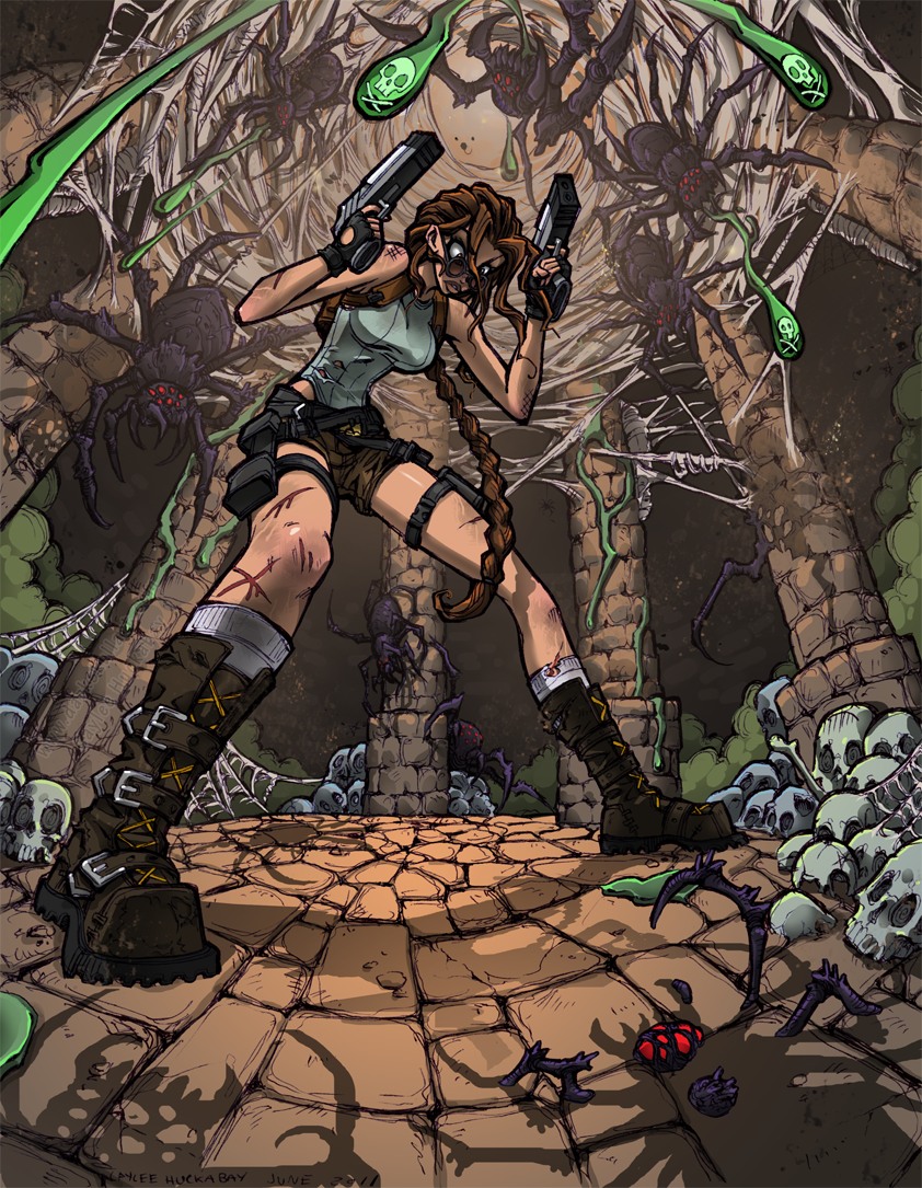 Lara Croft : Nightmare Spiders by bezzalair