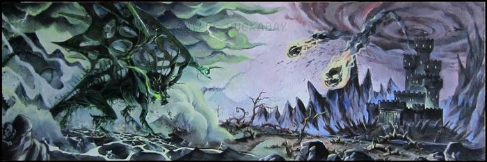 Zombie Dragon VS Dark Castle by bezzalair