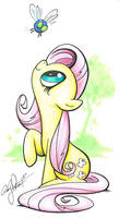 Fluttershy and Parasprite, My Little Pony by andypriceart