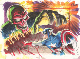 Captain America Sketch card from Greatest Battles
