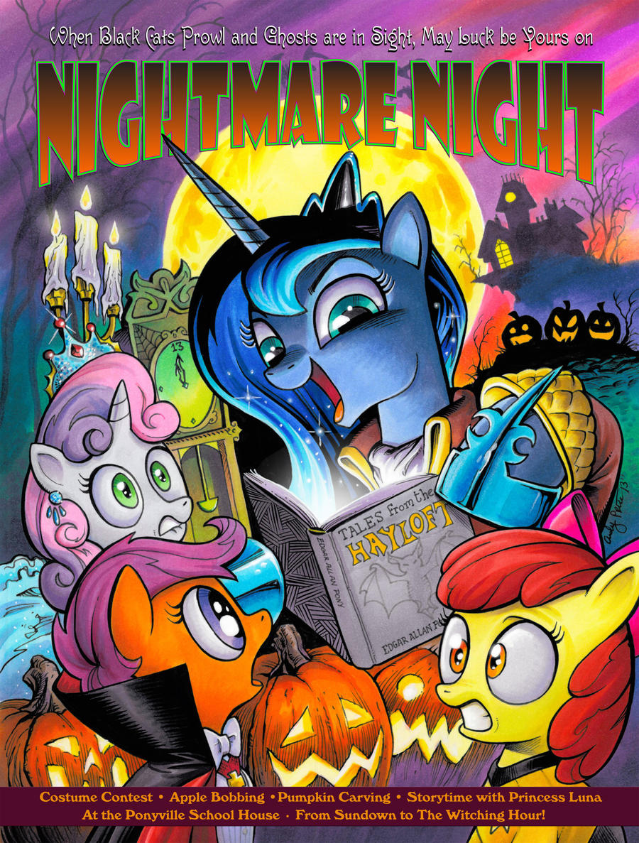 NIGHTMARE NIGHT MLP Poster with Luna! by andypriceart