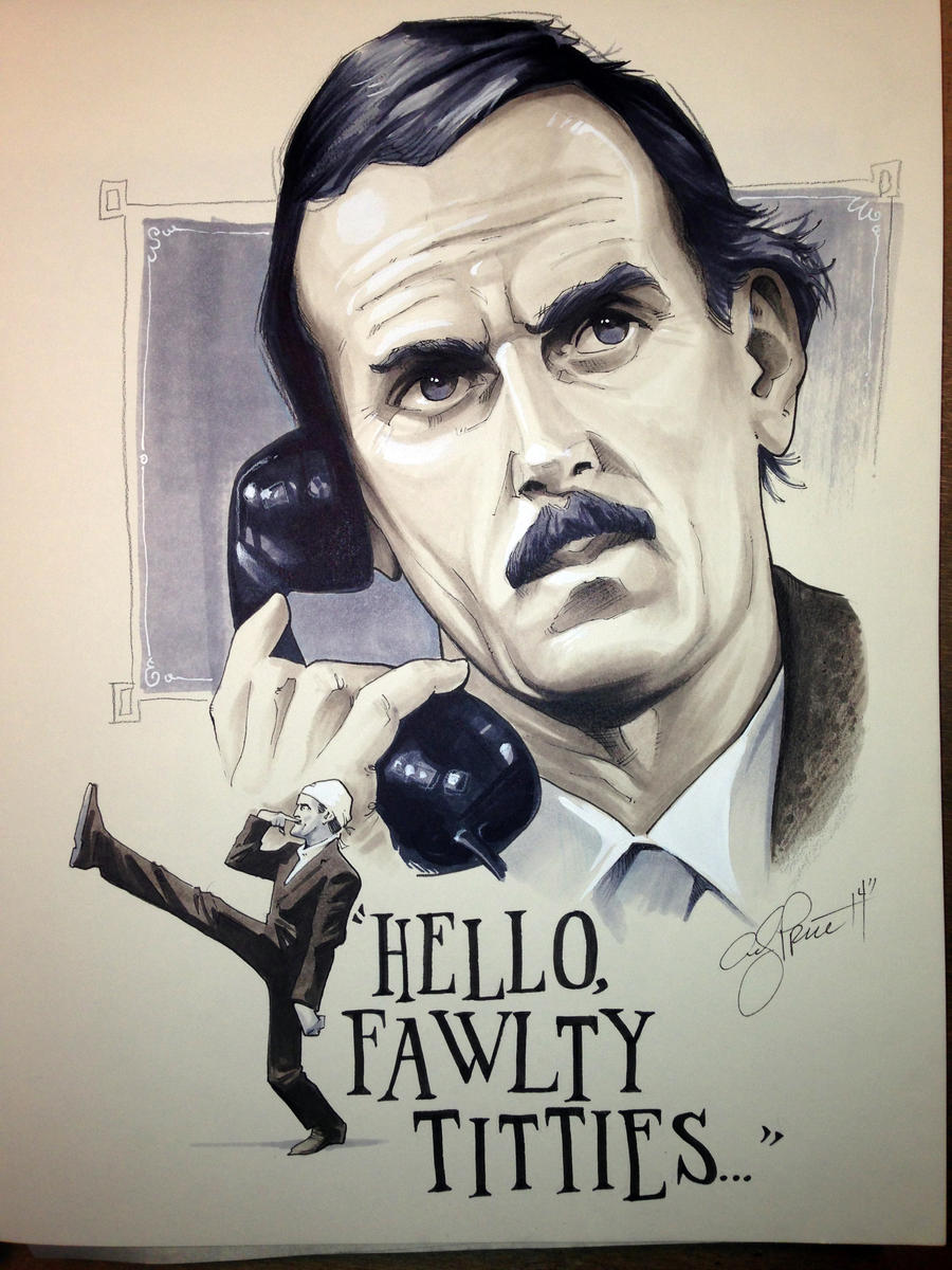 Fawlty Towers grayscale commission by andypriceart