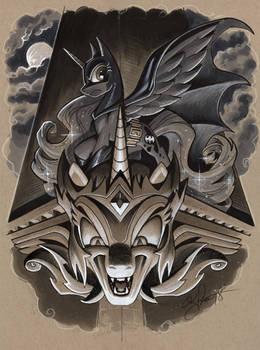 Luna as Batman atop Daybreaker gargoyle