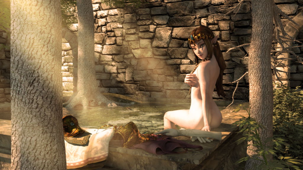 Zelda in the Ruins by DarklordIIID