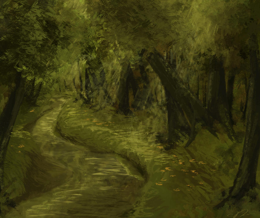Forest stream painting