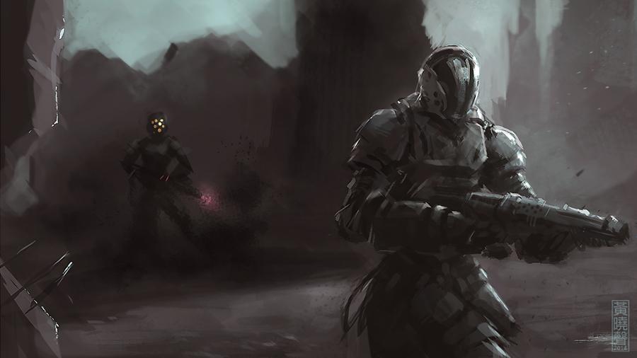 Man in shadow by XiaMan