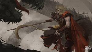 Monkey King vs dragon by XiaTaptara