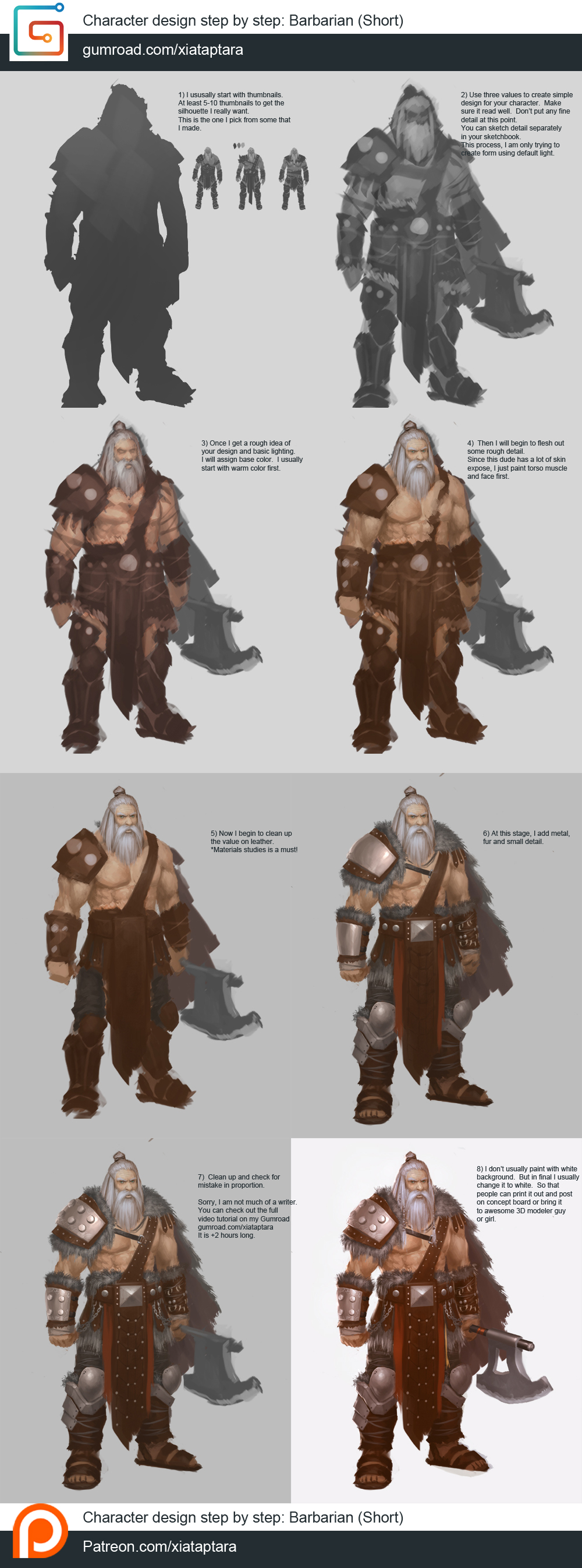 Character Design Tutorial Step By Step : Barbarian character design step by tutorial