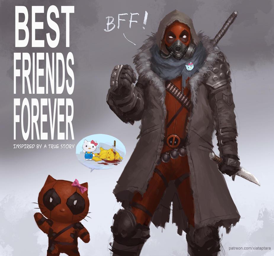 BFF Deadpool and Hello Kitty by XiaTaptara