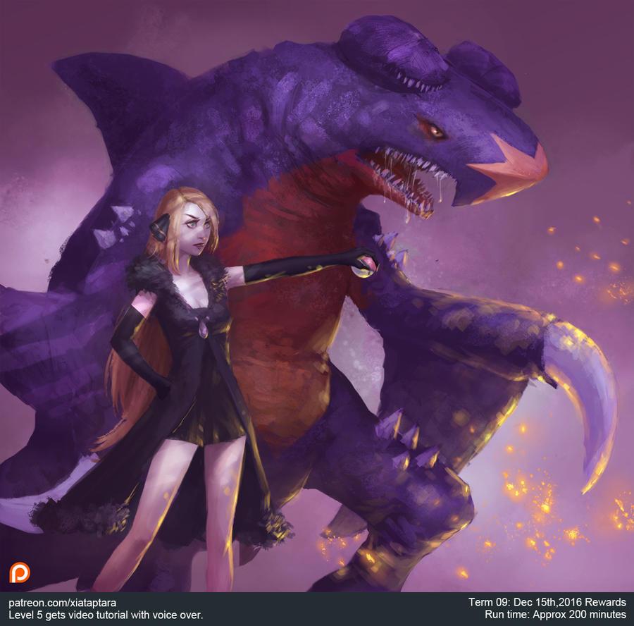 Pokemon Cynthia and Garchomp by XiaTaptara