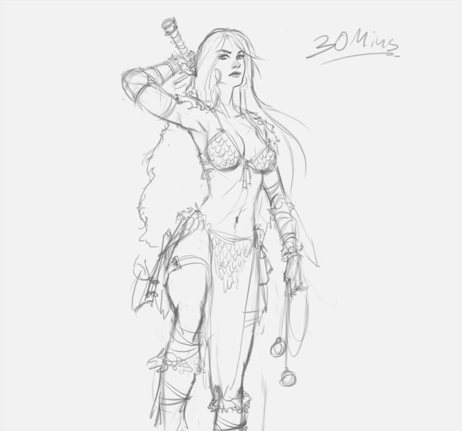Red Sonja 30 minutes Stream sketch by XiaTaptara