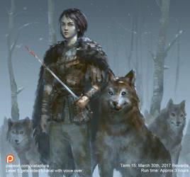 Arya Stark and Nymeria by XiaTaptara
