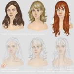 Drawing and painting long wavy hair