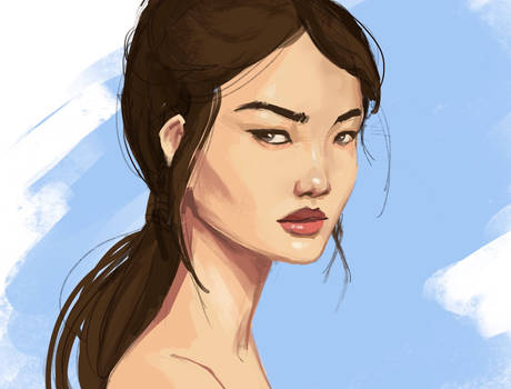 Morning warm up portrait sketch and painting #3