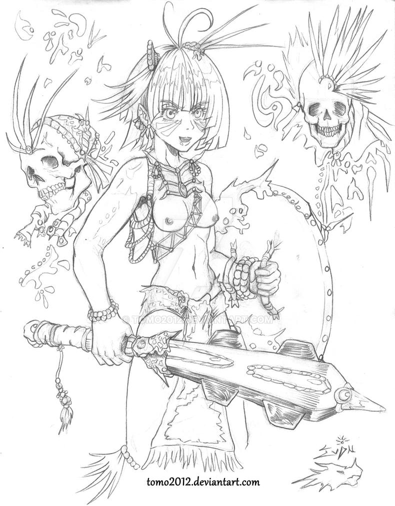 Mistyc Aztec girl warrior by TOMO2012
