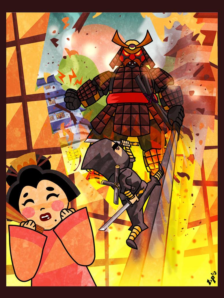 Li'l Ninja VS Samurai Giant by tarunbanned
