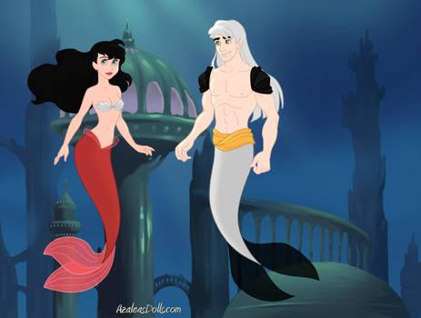 Sesshomaru and Kagome as Mermaid Couple