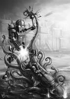 Steampunk Robot vs oldone by Kaek